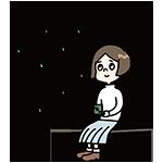 雨宿りをする女性のイラスト