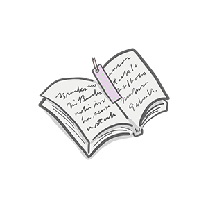 しおりが挟んでいる本のイラスト