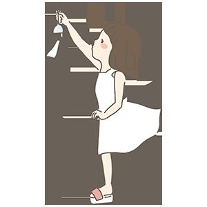 風鈴の少女のイラスト