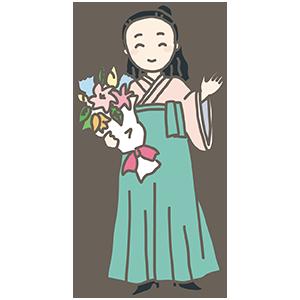 袴の先生のイラスト