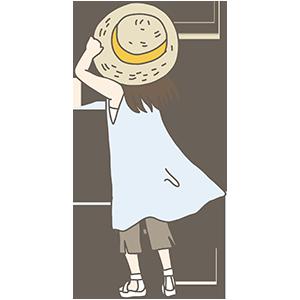 麦わら帽子の女の子のイラスト