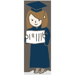 大学帽子の女の子のイラスト