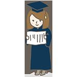 大学帽子の女の子のアイキャッチ