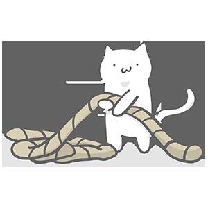 つなひきする猫のイラスト