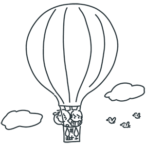 熱気球の日のぬりえ