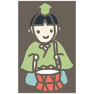 五人囃子の太鼓のイラスト