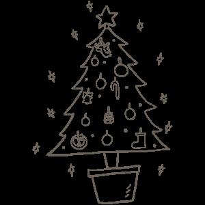クリスマスツリーの日のぬりえ