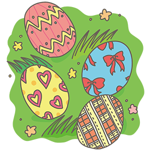 カラフルな卵のイラスト