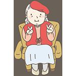 赤いちゃんちゃんこを着たおばさんのアイキャッチ