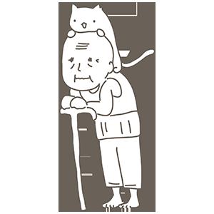 頭の上に猫がいるおじいちゃんのぬりえ