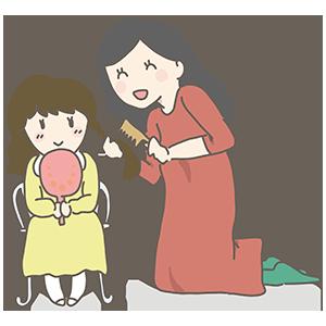 お母さんと娘のイラスト