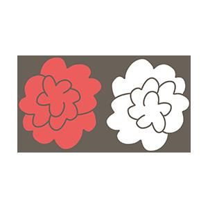 紅白の花のイラスト