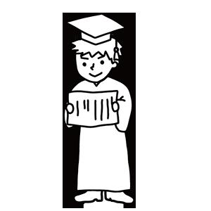 卒業式の男の子のぬりえ