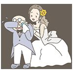結婚式の父と娘のイラスト