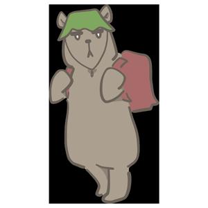バッグを背負ったクマのイラスト