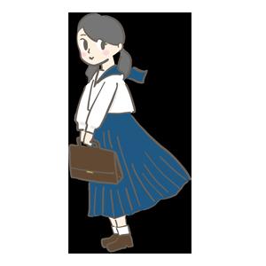 手にカバンを持つ女学生のイラスト