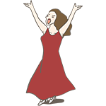 赤いドレスを来て歌っている女性のアイキャッチ