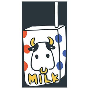 牛のイラストが描かれた牛乳パックのイラスト