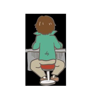 カウンターに向かって座っている男性のイラスト