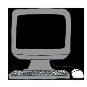 画面が透過したパソコンのイラスト