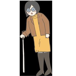 白い杖を持った女性のイラスト