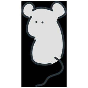 振り返るネズミのイラスト