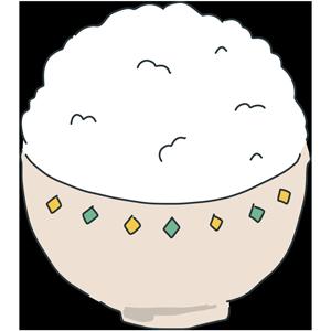 お茶碗に入った山盛りのお米のイラスト