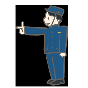 指差し確認をしている男性のイラスト