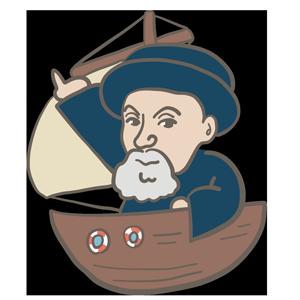 船に乗った男性のイラスト