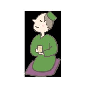 のほほんとお茶を飲んでいるイラスト