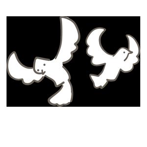 白い鳩が飛んでいる様子のイラスト