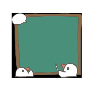文鳥が黒板説明しているイラスト