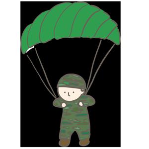 空からパラシュート降りている人のイラスト