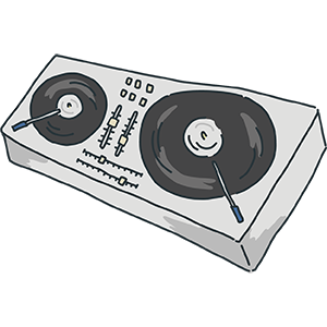 DJが使うターンテーブルのイラスト