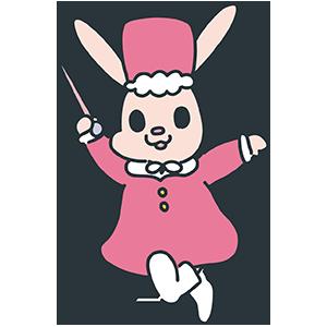 マーチをするピンクのうさぎのイラスト