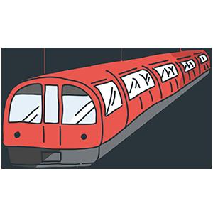 赤い地下鉄のイラスト