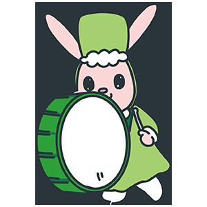 マーチをする緑のうさぎのイラスト