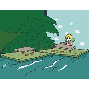 川床のイラスト