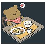 料理を目の前にしているクマのアイキャッチ