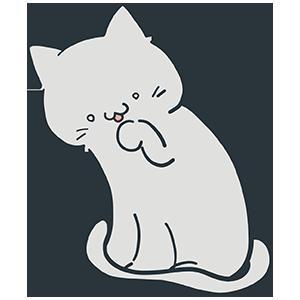 手を舐めているグレーの猫のイラスト