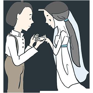 婚約指輪をつけているイラスト