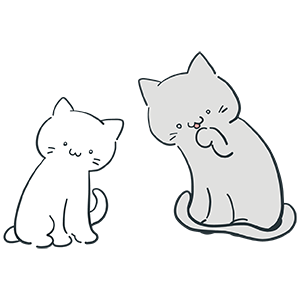 白とグレーの猫のイラスト