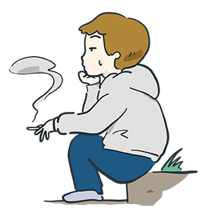 タバコを吸っている男性のイラスト