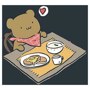 料理を目の前にしているクマのイラスト