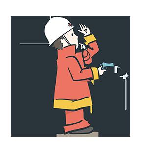 水鉄砲で消化する消防士のイラスト