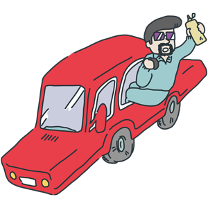 車に箱乗しているおじさんのイラスト
