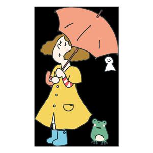 傘をさしている女の子のイラスト