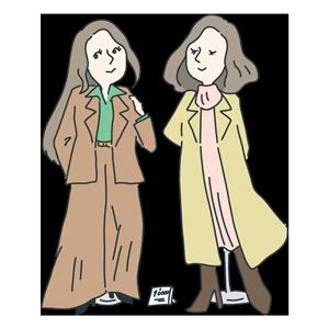 モデル風な女性二人のイラスト
