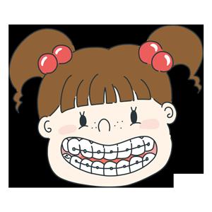 歯列矯正をしている女の子のイラスト
