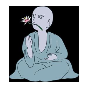 口に花を加えた大仏様のイラスト